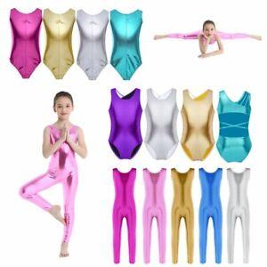 UK-Kids-Girls-Ballet-Dance-Leotards-Bodysuit-Jumpsuit-Yoga-Gymnastics-Dancewear