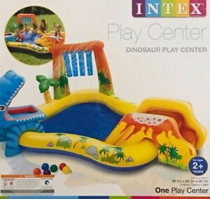 INTEX INFLATABLE BLOW UP DINO SPRAY KIDS PADDLING POOL GARDEN NEW