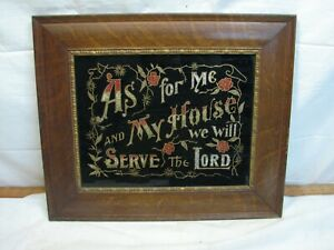 Antique-Tin-Foil-Folk-Art-Reverse-Painted-My-House-Will-Serve-the-Lord-Tinsel