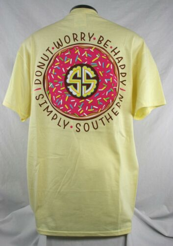 Simply Southern Donut Worry Be Happy Women/'s Tshirt  Size M Color Butter