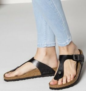 972b2356126 Image is loading BIRKENSTOCK-039-Gizeh-039-Black-Licorice-Leather-Birko-
