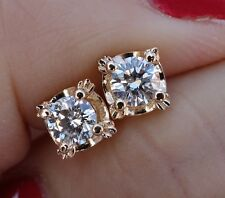 4.15mm .56ct J/VS stud diamond earrings 14k YG screwbacks
