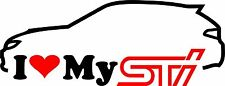 I Love My STI Hatchback JDM Drift Sticker Decal Subaru