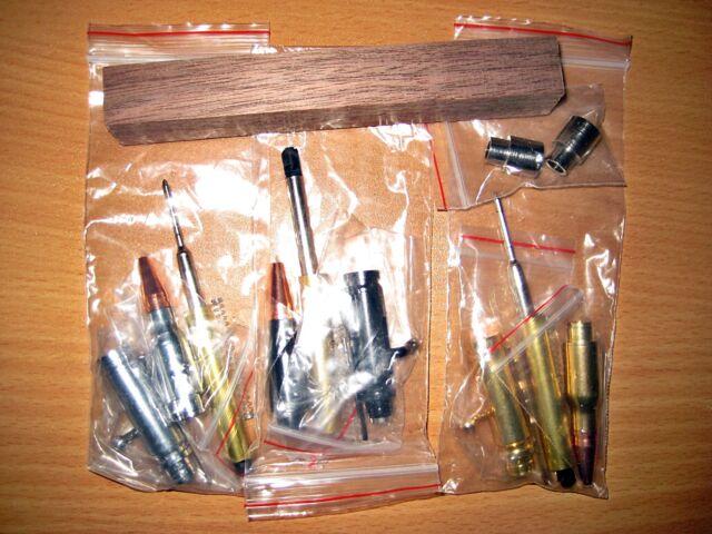 with bushings 5 Pack Mini 30 Caliber Bolt Action Bullet Pen Kits Gun Metal