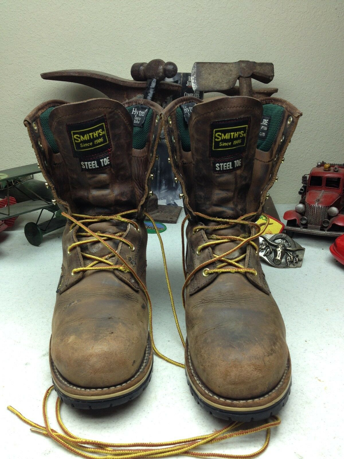 DISTRESSED SMITH'S STEEL TOE LACE UP PACKER CHORE WORK & SAFTEY BOOTS SIZE 10.5D