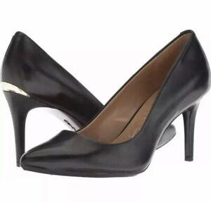 Calvin-Klein-Kamara-Black-Leather-Heel-039-s-Pumps-New