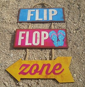 FLIP FLOP ZONE ARROW Rustic Tiki Beach Bar Wood Cantina Rope Sign Home Decor NEW