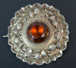 Quality-Victorian-Scottish-Silver-amp-Citrine-Target-Brooch-of-Thistle-Design
