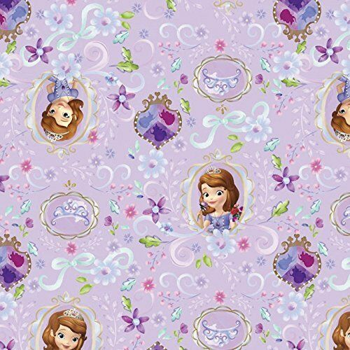 Disney Fabric 100/% Cotton Purple Sofia The 1st And Friends Framed