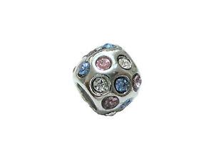 European-Bead-Rosa-Blau-Weissen-Strass-Silberfarbig-10-46-NEU