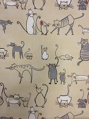 CAT AND MOUSE CHARCOAL CREAM NATURAL COTTON PRINT CURTAIN FABRIC NOVELTY