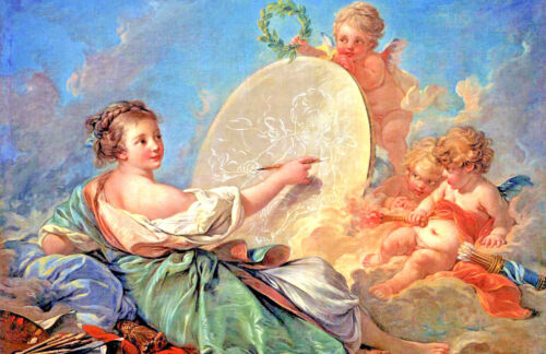 "Large 11/""x17/"" Artist Girl Painting Angel Cherubs Real Canvas Art Print New"