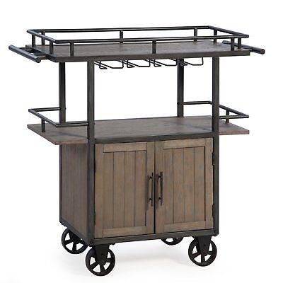 Industrial Beverage Cart Serving Tray Rolling Rustic Kitchen Trolley Tea  Bar | eBay