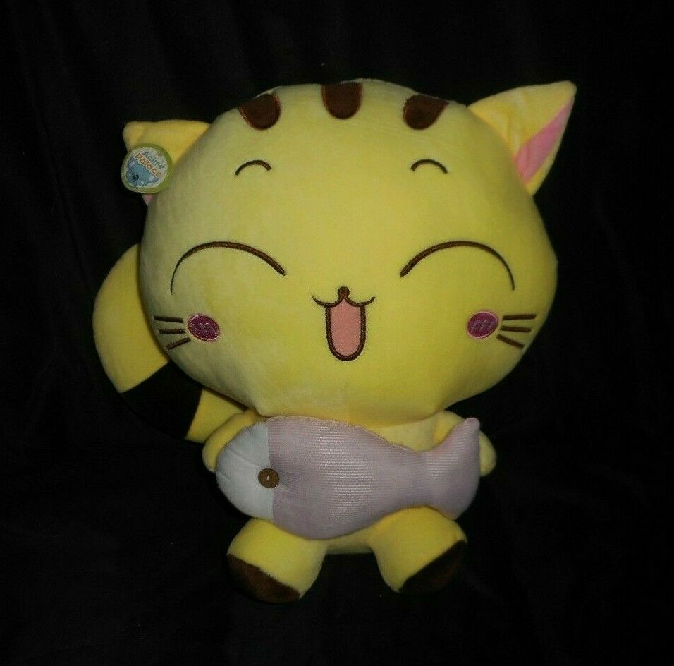15  LARGE ANIME PALACE BABY YELLOW KITTY CAT W  FISH STUFFED ANIMAL PLUSH TOY