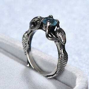 Magnificent-925-Silver-Two-Mermaids-With-Pearl-amp-Aquamarine-Ring-Wedding-Jewelry