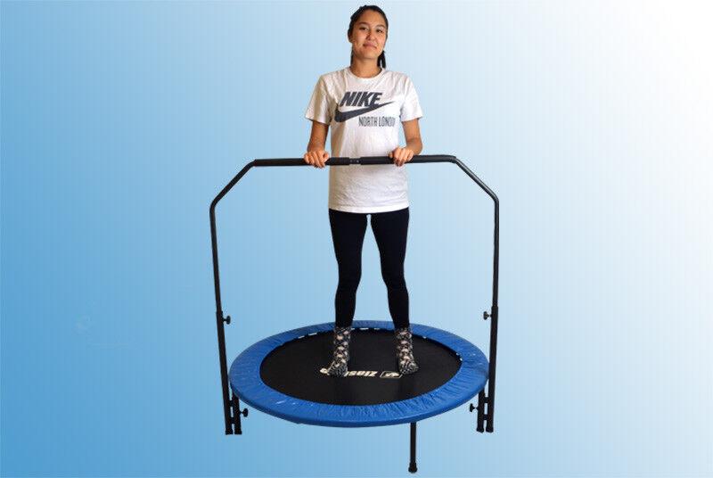 Zlash Fitness Trampolin 100 120 cm Rund Double Handle Pad Minitrampolin Workout