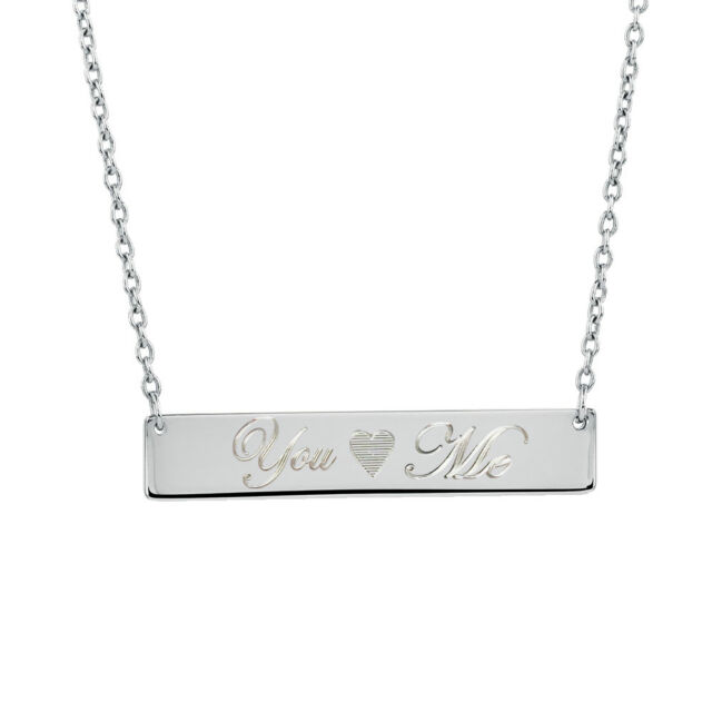 4f0333a214640 Personalized Name Bar Necklace Silver Stainless Steel Custom Pendant  Engraved