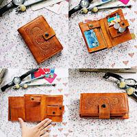 Vintage Mandala Hollow Genuine Leather Women's Wallet Purse Cards Zipper Brown