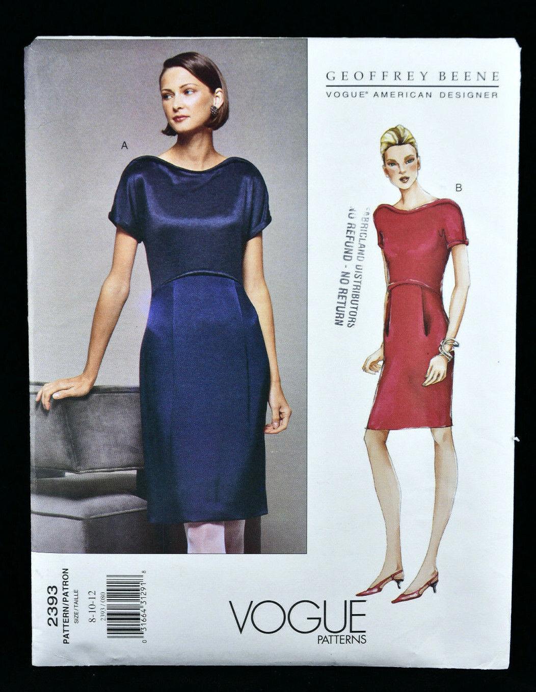 Uncut 10 Sewing Pattern Vogue 1338 Geoffrey Beene American Designer Women/'s Caftan Style loose fitting Tent Dress Sz Original Not PDF
