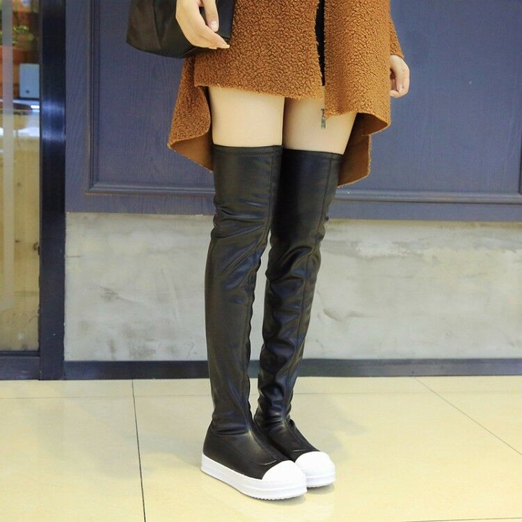 Women Over Knee High Boots Hidden Heels Round Toe PU Leather Thick Sole Shoes