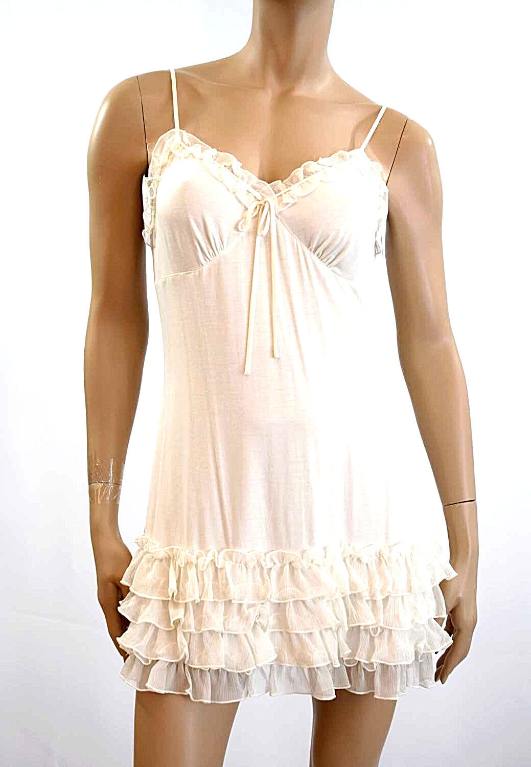 MARJOLAINE BABYDOLL DRESS Viscose & Dentelle Size M F40 EU38 color Natural '