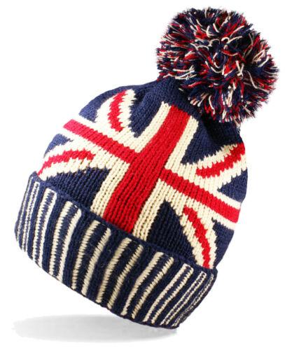 Ladies Unisex Warm Wniter Union Jack GB Flag Knit Bobble Pom Hat 1//3//6 X Mens