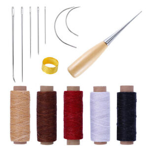 14Pcs-Leather-Craft-Tool-Waxed-Thread-Cord-Sewing-Needles-Shoe-Repair-Kit-T-OT