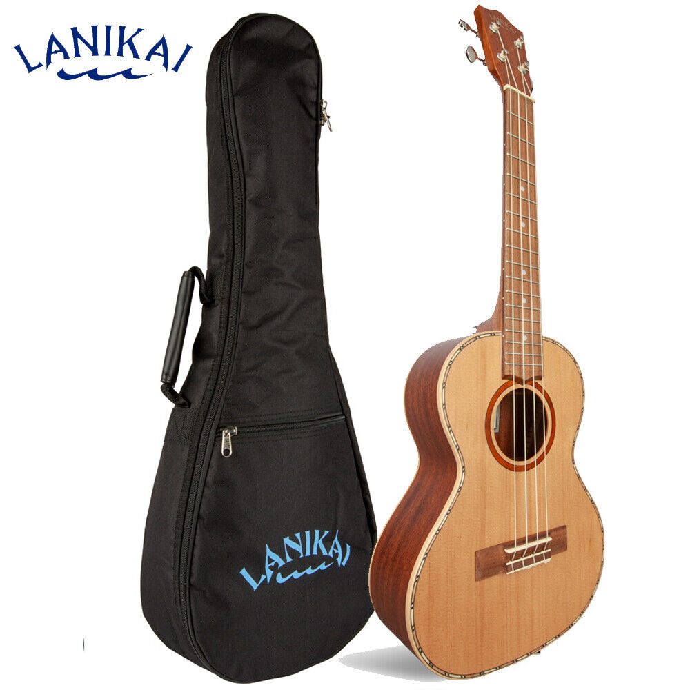 NEW Lanikai CDST-T Cedar Solid Top Tenor Ukulele with Padded Gig Bag
