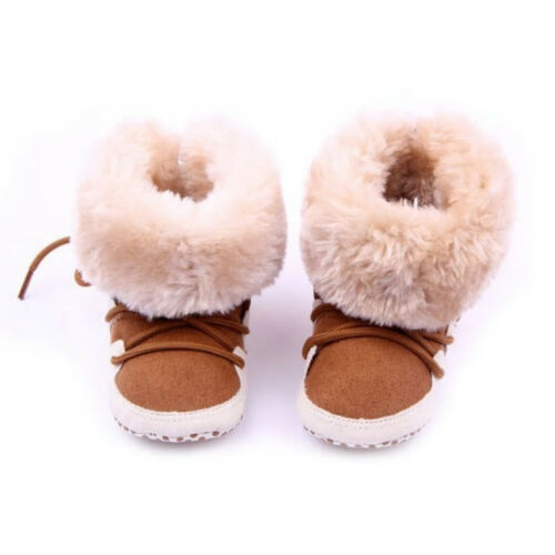 NEW Baby Girls Brown Faux Fur Boots Soft Sole Crib Shoes 0-6 6-12 12-18 M