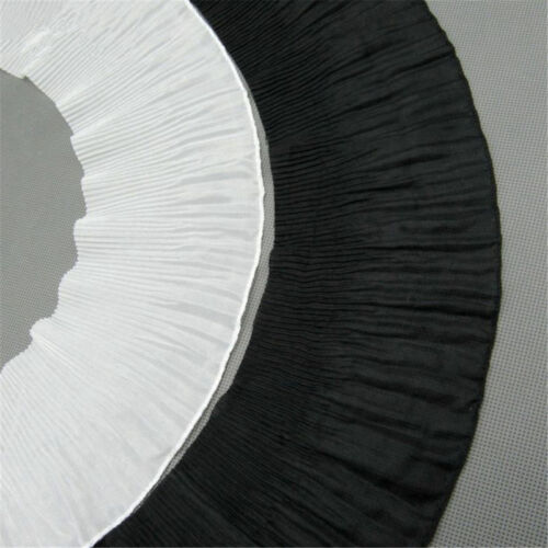 White Black Gathered Lace Edge Trim Pleated Chiffon Ribbon Sewing Fabric 1 Yard
