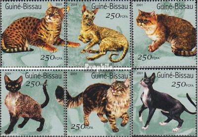 Never Hinged 2001 Cats Practical Guinea-bissau 1522-1527 Unmounted Mint Stamps