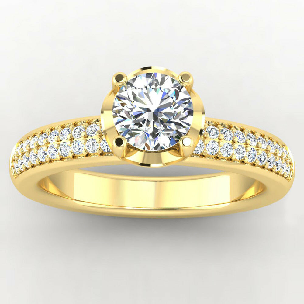 0.76 Round Cut Real Diamond Wedding Ring 14K Solid Yellow gold Ring Size 6 7 5.5