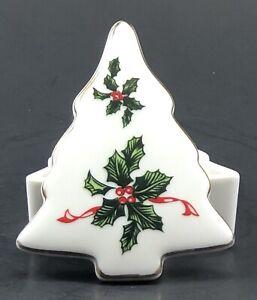 Porcelian Christmas Tree Box with Mouse and Holly Vintage Lefton China Christmas Tree Trinket Box