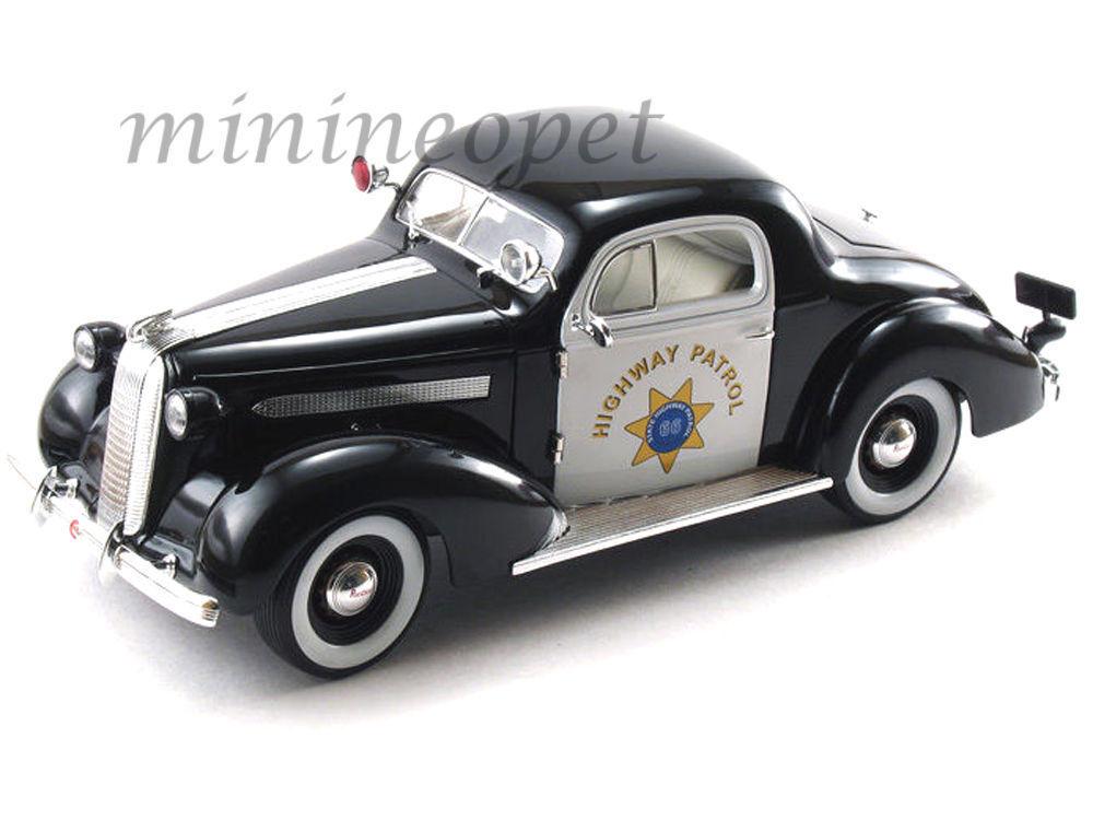 1 18 Signature Models 1936 Pontiac Deluxe Deluxe Deluxe Policía Highway Patrol - Rareza§ 8116aa