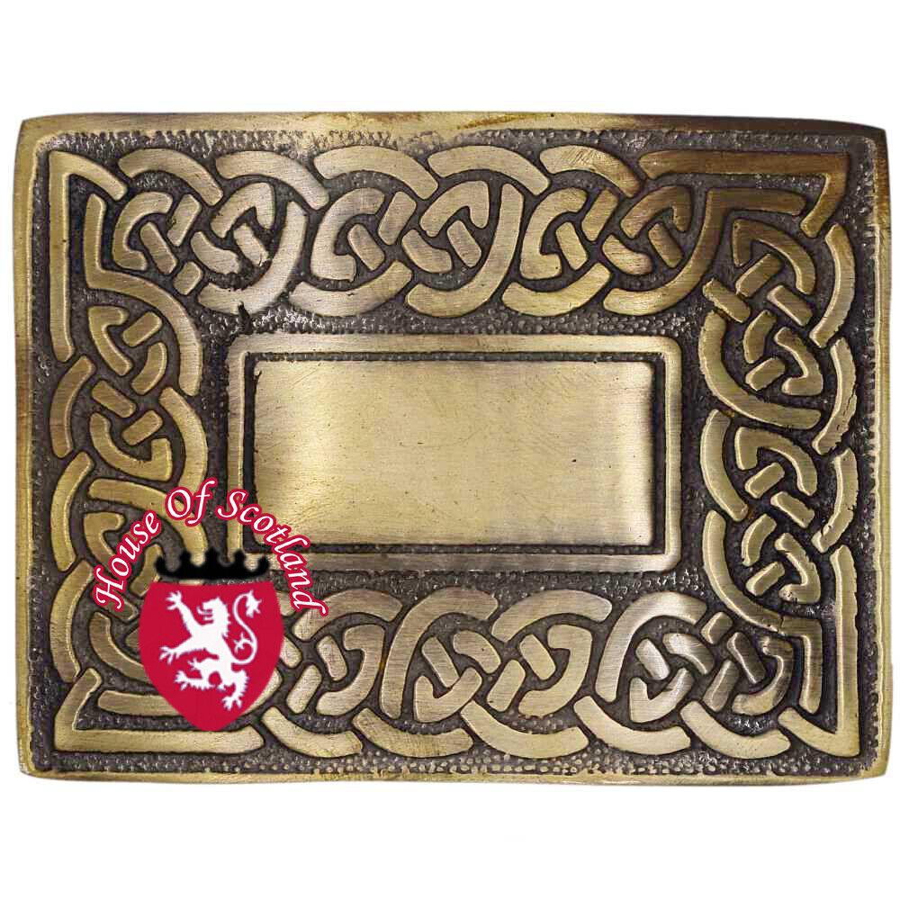 HS Scottish Kilt Belt Buckle Celtic Knot Antique Finish Highland Buckles Brass