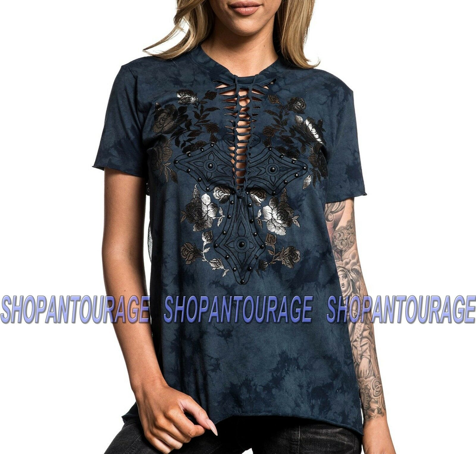 Affliction Bella AW19765 New Short Sleeve Graphic Fashion T-shirt Top for damen