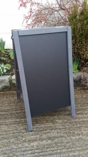 Blackboard Pavement Sign 100 x 60cm Large Grey Wooden A Board Chalkboard