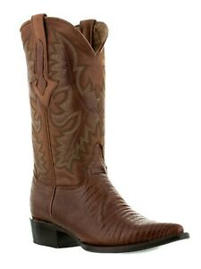 Mens Cognac Lizard Print Leather Cowboy Boots Casual Dress Pointed Toe
