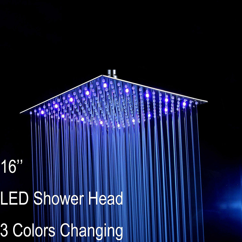 Led 16 Square Bathroom Rainfall Shower Head Ultra Thin Luxury Chrome