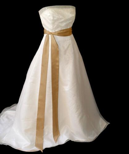 GOLD Satin Wedding Fancy Dress Party Ribbon Sash Tie Belt Band Bridesmaid Bow