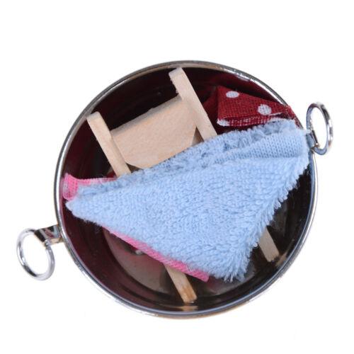 1:6//1:12 bañera de casa de muñecas en miniatura para la ropa con ondulaciones Toalla Conjunto de regalo de madera Fo