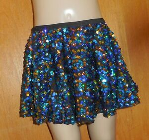 Dance-Sequin-Short-Circle-Skirt-Blue-Gold-Costume-tap-jazz-over-20-available-NWT