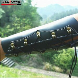 Archery Arm Guard Traditional Cow Leather Bracer Armlet for Longbow Recurve Bow