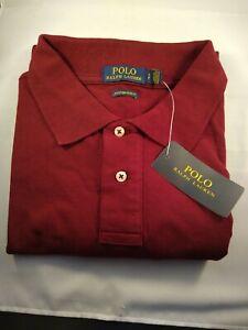 RALPH-LAUREN-Authentique-Polo-Shirt-dans-un-VIN-BOURGOGNE-couleur