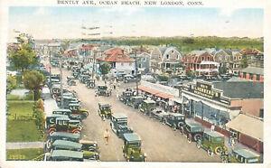 Bently-Ave-Ocean-Beach-New-London-Postcard-1937-Connecticut-Mirror-Writing-Autos