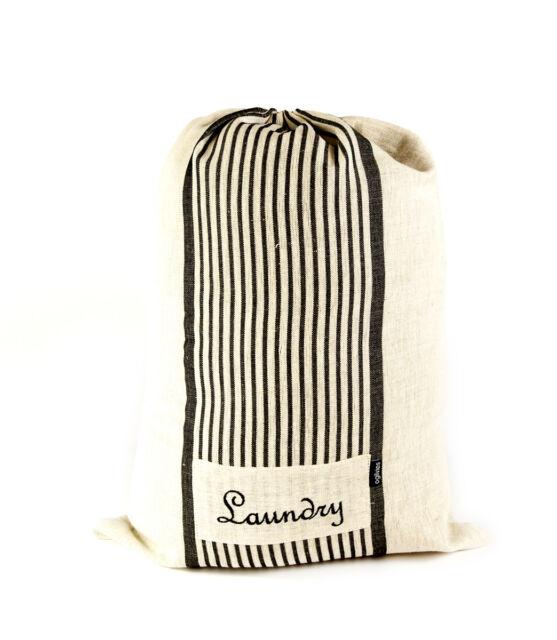 Laundry Bag Cream Black Stripes Cotton Linen Drawstring Travel 40x55cm