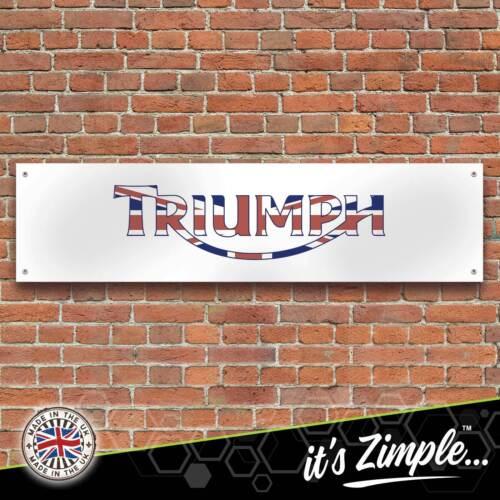 Triumph Motorcycles Logo Union Jack Banner Garage Workshop PVC Trackside Sign