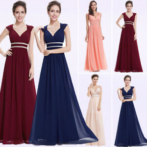 Womens-Cocktail-Party-Dress-Long-V-Neck-A-line-Formal-Prom-Beaded-Ball-Gown