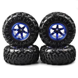 4Pcs-1-10-RC-Rubber-Tire-Blue-Wheel-Rim-For-Bigfoot-Monster-Truck-Climbing-Car