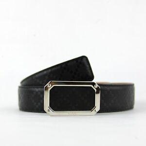incontrare 5c0a0 93b2b Dettagli su Gucci Nere da Uomo Diamante di Cuoio Cintura con / Argento  Rettangolare Fibbia